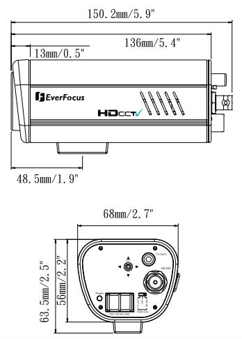 Видеорекамера EQH5200 - размеры