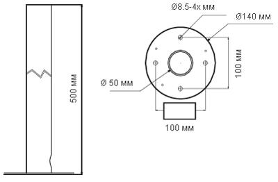 Размеры кронштейна ISE-CB/500 Infinity