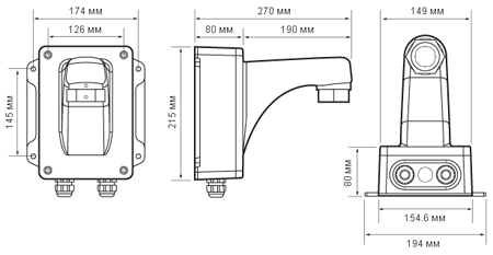 Размеры кронштейна NVP-WBS24VAC Infinity